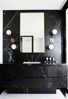 A luxe bathroom in a Sydney apartment. Artwork by Joshua Yeldham. Custom vanity by Melmac Interior Joinery in marble from Nefiko Marble with Apparatus wall lights from Criteria. Bathroom Vanity Designs, Rustic Bathroom Vanities, Bathroom Red, White Vanity Bathroom, Rustic Bathrooms, Glass Bathroom, Bathroom Fixtures, Bathroom Interior, Bathroom Ideas