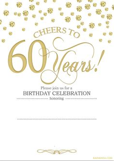 60th birthday invitation Gold Glitter Birthday Party invite Adult