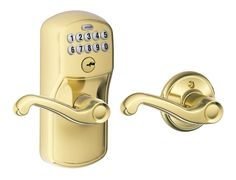 Schlage FE575-PLY-FLA Plymouth Keypad Entry with Auto-Lock Door Lever Set with F