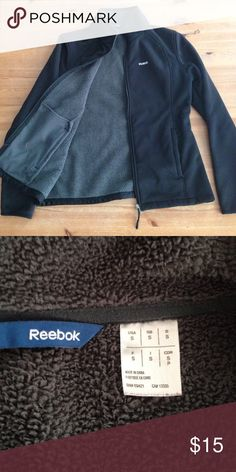 Black Reebok Jacket with Fleece Lining Small black Reebok jacket with grey fleece lining, zip closure, inner pockets, and zip outer pockets. Very cozy and comfy, just right for cool autumn nights at the fair. Good condition! Reebok Jackets & Coats Utility Jackets