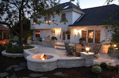 Backyard patio concept- curved sitting wall with columns for lights, going into firepit as well as curved tree well-perfection!