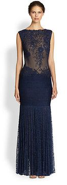 Tadashi Shoji Appliquéd Sheer-Top Lace Gown on shopstyle.com