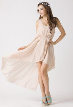 Nude Asymmetric Waterfall Dress by Chic  - Retro, Indie and Unique Fashion