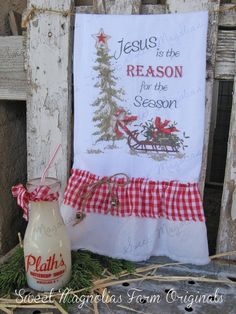 "Christmas Flour Sack Kitchen Towel "" Jesus is the Reason for the Season ""  by SweetMagnoliasFarm on Etsy, $18.50"