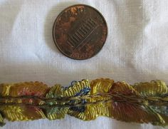 """ANTIQUE 1920s FRENCH RUCHED OMBRE SILK RIBBONWORK TRIM~FLAPPER~28"""""""