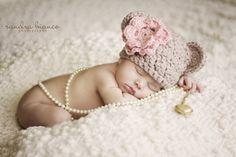 Newborn Baby Girl Bear Beanie Photo Prop