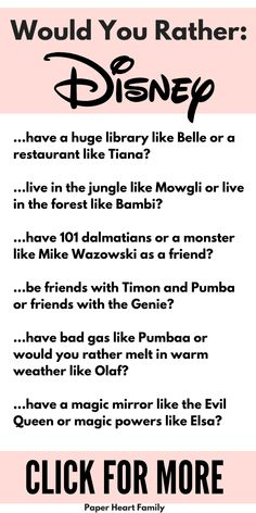 Disney would you rather questions and printable for kids, featuring their favorite movies and Disney princesses! Funny questions to ask the whole family! Silly Questions To Ask, Would You Rather Questions, This Or That Questions, Interesting Questions To Ask, Disney Questions, Favorite Questions, Funny Would You Rather, Fun Sleepover Ideas, Sleepover Activities