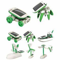 Solar Power 6 in 1 Electronic Toys Robot Car Boat Dog Fan Plane Puppy