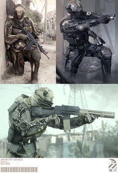 Nuthin' But Mech: Infantry armor Arte Sci Fi, Arte Ninja, Arte Robot, Science Fiction, Armor Concept, Concept Art, Armadura Sci Fi, Sci Fi Kunst, Millenium