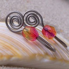 Hypoallergenic Earrings for Sensitive Ears, Pure Titanium Earrings, Czech Glass Bead with Titanium Wire, Bright Pink and Yellow with Spirals