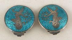 Sterling Silver Earrings Turquoise Blue Enamel by TheArtisanal