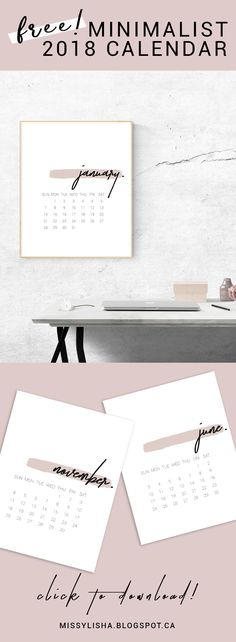 Gorgeous FREE minimalist #2018 Calendar! Start your year organized and boss-babe with this stunning printable. #FreePrintable #2018calendar #FreeCalendar #MinimalistDecor #MinimalistCalendar
