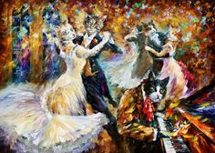 Cat Ball Party by Leonid Afremov