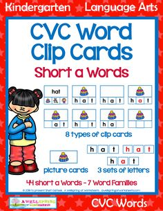 Lots of great cvc word activities for the 7 short a word families packed into one big package! Clip the missing letters into place, clip the picture, identify the vowels and consonants, and so much more. Please take the time to check it out! Cvc Word Families, Kindergarten Language Arts, Cvc Words, Letter Set, Picture Cards, Common Core Standards, My Teacher, Art Activities, Phonics