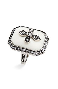 Vintage Cross Ring (white resin, sterling silver, hand-set cubic zs)