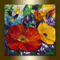 Poppy Poppies Floral Canvas Modern Flower Oil Painting Textured Palette Knife Original Art 16X16 by Willson Lau on Etsy, $135.00