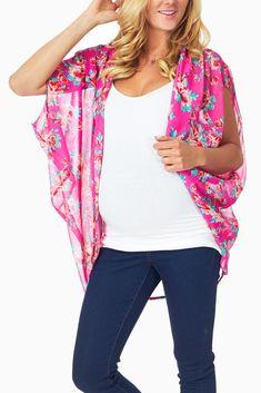 Fuschia-Floral-Printed-Sheer-Maternity-Cardigan #maternity #fashion