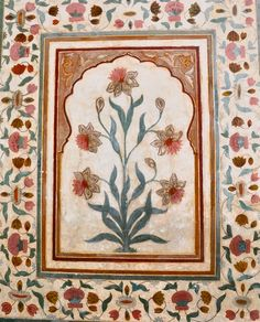 Floral motif fresco at the Amber Fort