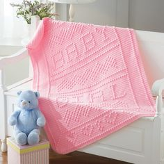 Adorable blanket to crochet. Designed by Nancy Liggins. Shown in (044) Baby Pink.