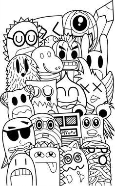 Doodle Friends by byfrankkk on DeviantArt Cute Doodle Art, Doodle Art Designs, Doodle Art Drawing, Line Drawing, Funny Doodles, Kawaii Doodles, Cute Doodles, Doodle Monster, Doodle Coloring