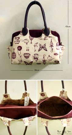 Vintage Illustrations Handmade Bag, love it , i would dearly love to make this myself, if there was a pattern