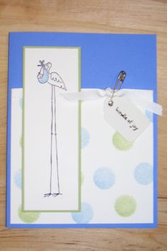 Stork Bundle of Joy baby shower greeting card with ink dauber dots, water colored image and safety pin embellishment by Michelle Dixon, Stampin' Up!