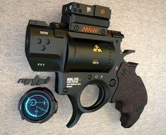 Nukleus by mrhd on DeviantArt Sci Fi Weapons, Weapon Concept Art, Fantasy Weapons, Weapons Guns, Guns And Ammo, Rifles, Armas Ninja, Future Weapons, Custom Guns