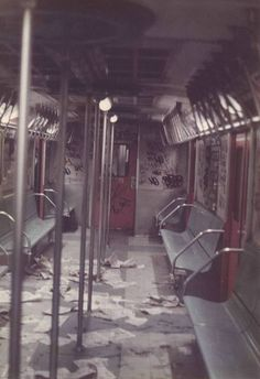 What the usual subway car looked like in the 1980s at the end of the line (or even before that).