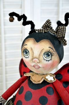 Primitive Cloth Doll Pattern Lady Bug Bee by SweetBearCreekWhims