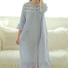 Autumn Print Nightgowns Button Home Dress Pockets Sleep Shirts Three  Quarter Indoor Clothing Comfortable Nightgown Female 2928c626a