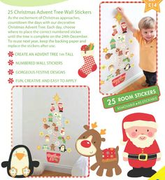 Advent Tree Wall Decoration (stickers) £14  As all the excitment of Christmas approaches, countdown the days with our decorative Christmas Advent Tree. Each day choose where to place the correct numbered sticker until the tree is complete on the 24th December. #christmas #advent #calendar