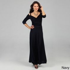 @Overstock - Evanese dress is a sexy and elegant addition to your closet  Women's clothing offers bra-friendly straps with draping off-shoulder fabric pieces     Casual dress features 3/4-sleeveshttp://www.overstock.com/Clothing-Shoes/Evanese-Womens-Elegant-Long-Dress/3841399/product.html?CID=214117 $108.89