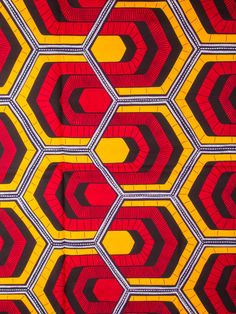 african geometric red yellow
