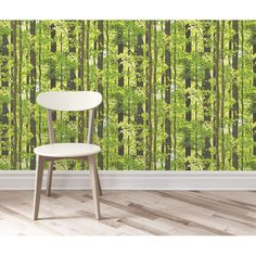 Tranquil Forest Tree Mural Wallpaper Green - from Henderson Interiors UK