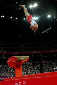 Hak Seon Yang of Korea competes in the Artistic Gymnastics Men's Vault on Day 10 of the London 2012 Olympic Games at North Greenwich Arena on August 2012 in London, England. Elite Gymnastics, Artistic Gymnastics, Male Gymnast, Nbc Olympics, Vaulting, Olympic Games, Athlete, Basketball Court, Challenges
