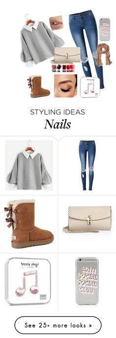 """""""It's a normal day but still looking pretty"""" by wiharris on Polyvore featuring WithChic, UGG, Avon, Essie, Dolce&Gabbana and Banana Republic"""