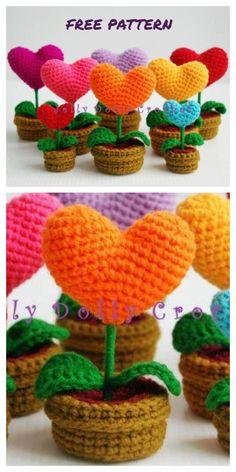 Crochet Amigurumi Free Patterns, Crochet Animal Patterns, Crochet Dolls, Crochet Cactus Free Pattern, Doll Patterns, Crochet Sunflower, Crochet Flowers, Crochet Hearts, Crochet Flower Tutorial