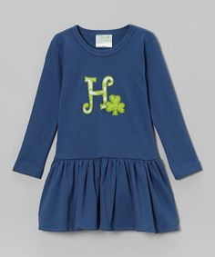 Another great find on #zulily! Steel Blue Shamrock Initial Pima Dress - Infant & Toddler #zulilyfinds
