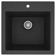 Évier de cuisine monocuve en granite composite « F11 », noir