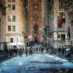 Wintery scene on Wall Street <3 Photo: Cory Schloss