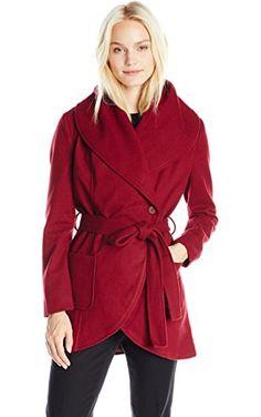 Jack by BB Dakota Women's Gitty Wrap Coat, Merlot Burgundy, X-Small ❤ Jack BB Dakota Women's Contemporary Sportswear