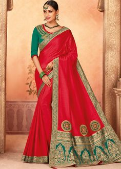 Indian Womens Art Silk Fabrics Multi-Colored Printed Sari with Blouse Piece Hiphop RED Green Fabric