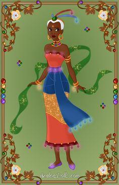 Goddess: Ochumare Origin: Africa (Yoruba) Goddess of the rainbow. Azalea Dress Up, Doll Divine, Dress Up Dolls, Disney Dolls, Up Game, Doll Maker, The Creator, Disney Characters, Fictional Characters