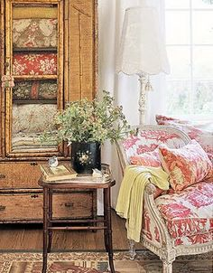 love the cabinet and all the folded quilts