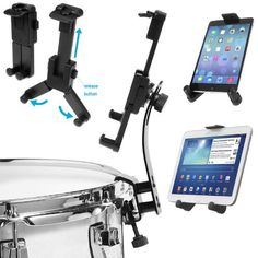ChargerCity Drum Stand Rim Lock on Clip Mount for wApple iPad Air Mini Pro 97 Samsung Galaxy Tab LG G Pad HD HDX Microsoft Surface Google Nexus Tablets >>> Check this awesome product by going to the link at the image. (This is an affiliate link) #CarAccessories Tablet Holder, Cell Phone Holder, Nexus Tablet, Apple Pro, Ipad Mount, Tv Stand With Mount, Car Accessories For Women, Audio