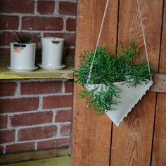 Porcelain Hanging Planter Scalloped by taylorceramics on Etsy