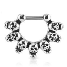 Linked Skulls Surgical Steel Bar Septum Clicker Ring bar length Please be sure to check out more body jewelry in our shop! US Shipping! Ships in 1 day!~ While Supplies Last Small Septum Piercing, Septum Clicker, Septum Ring, Piercings, Body Piercing, Body Jewelry Shop, Keep Jewelry, Septum Jewelry, Steel Bar