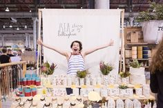 I like the simplicity of her backdrop The Finders Keepers Sydney Market // Photos by Mark Lobo Craft Stall Display, Market Stall Display, Vendor Displays, Vendor Booth, Craft Fair Displays, Market Displays, Market Stalls, Display Ideas, Booth Ideas