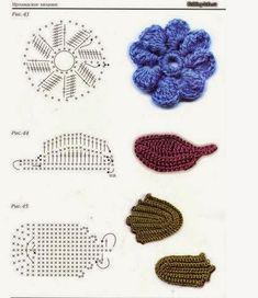 LE GATTE COI TACCHI: Schemi foglie all'uncinetto