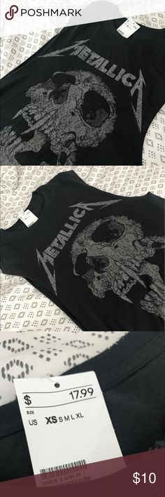 Metallica men's muscle tank! (Boyfriend band tee) I love buying men's band tees or tanks. So here's one since I already have another Metallica shirt. Charcoal gray, distressed collar. Awesome design. Looks great with jeans. Size XS fits like a woman M or L. I wear a size XS or Small and I love the fit on me since it's oversized. Anyone from XS-L could most likely wear this. Looks great with lace bra under. H&M Tops Muscle Tees